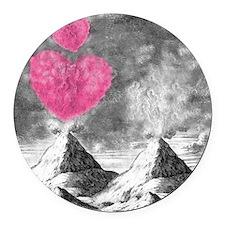 volcanoes image Round Car Magnet