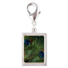 green feather square Silver Portrait Charm