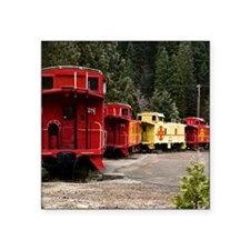 "(14) caboose line Square Sticker 3"" x 3"""