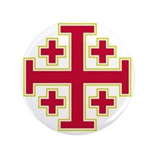 "Cross Potent - Jerusalem - Red-2 3.5"" Button"