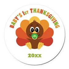 Personalize Babys First Thanksgiving Round Car Mag