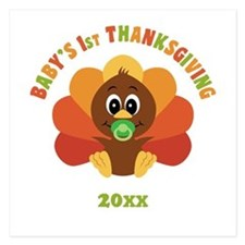Personalize Babys First Thanksgiving 5.25 x 5.25 F
