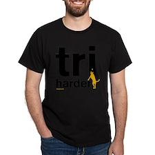 Tri Harder Flying Three Legged Dog Wh T-Shirt