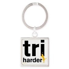 Tri Harder Flying Three Legged Dog Square Keychain