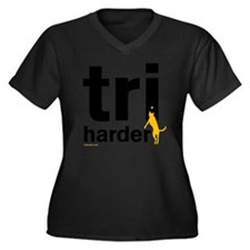 Tri Harder F Women's Plus Size Dark V-Neck T-Shirt