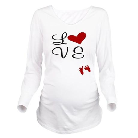 Love Baby Feet Long Sleeve Maternity T-Shirt