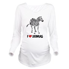 I Love Zebras Long Sleeve Maternity T-Shirt