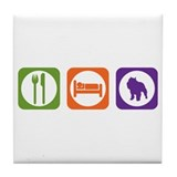 Eat Sleep Brussels Tile Coaster
