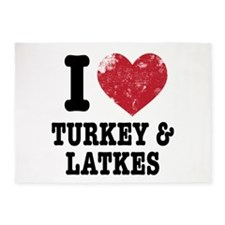 I Heart Turkeys Latkes 5'x7'Area Rug