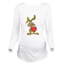 Rabbit With Heart Long Sleeve Maternity T-Shirt
