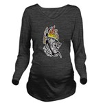 Flaming Wolf Tattoo Long Sleeve Maternity T-Shirt