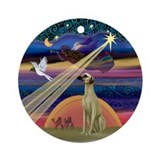 Xmas Star & Sloughi Ornament (Round)