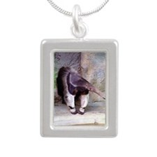 (11p) Giant Anteater Fro Silver Portrait Necklace