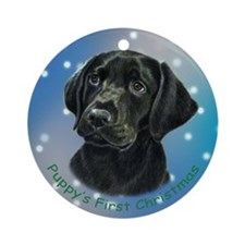 Lab Pup in Snow Ornament (Round)