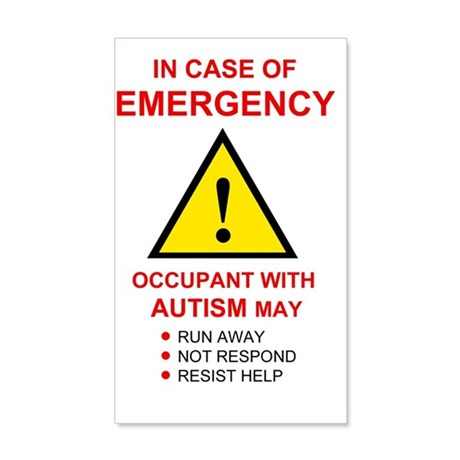 autism warning for home 35x21 Wall Decal