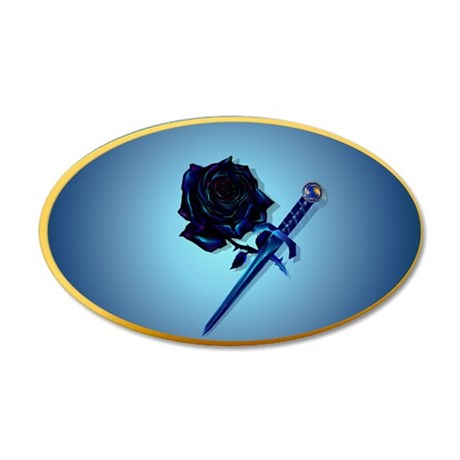 The Black Rose and Dagger-ov 35x21 Oval Wall Decal