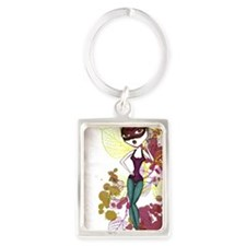 2-cat_mask_ballerina2_large Portrait Keychain