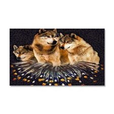 Golden Wolves Car Magnet 20 X 12