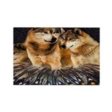 Golden Wolves Rectangle Magnet