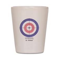 curling is hard Shot Glass