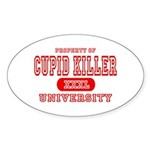 Cupid Killer University Oval Sticker