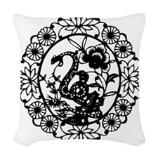 SnakeB1 Woven Throw Pillow