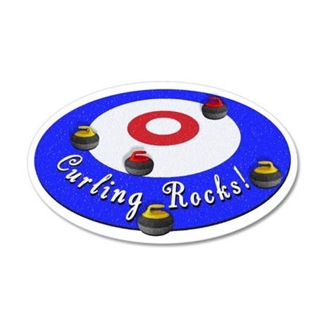 Curling Rocks WC 35x21 Oval Wall Decal