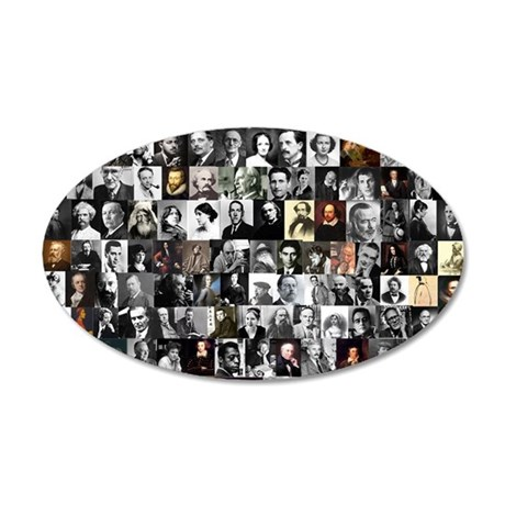 Dead Writer Collage 35x21 Oval Wall Decal
