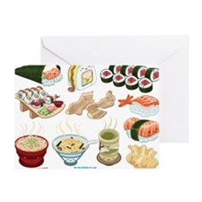 Kawaii Sushi Ban Cafe Greeting Card
