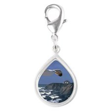 (15s) lighthouse & seagull Silver Teardrop Charm