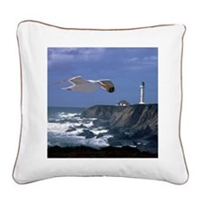 (15s) lighthouse & seagull Square Canvas Pillow