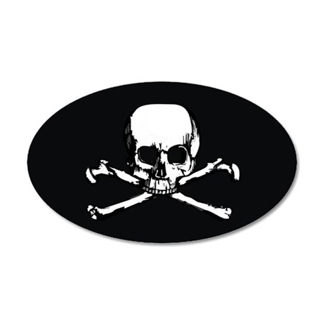 Skull  Crossbones (Oval 3.25 35x21 Oval Wall Decal