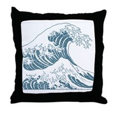 great_wave_blue_10x10 Throw Pillow
