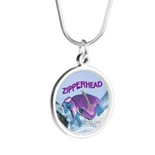 FrogOnLogZipperheadPurple Silver Round Necklace