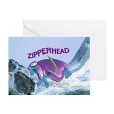 FrogOnLogZipperheadPurple Greeting Card