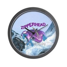FrogOnLogZipperheadPurple Wall Clock