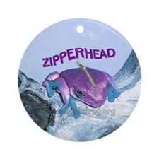FrogOnLogZipperheadPurple Round Ornament