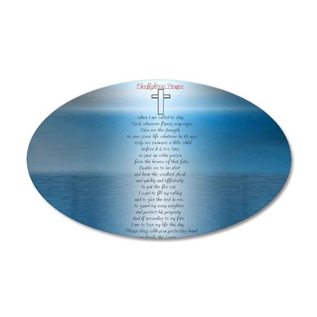 Firefighters.prayer.1.sticke 35x21 Oval Wall Decal