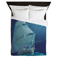 Moonlight Sail Ship Queen Duvet Cover