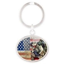 Patriotic_soldier 5 Oval Keychain