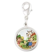three-little-pigs Silver Round Charm
