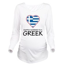 Happily Married Greek Long Sleeve Maternity T-Shir