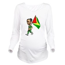 Cute 3D Guyana Flag Long Sleeve Maternity T-Shirt