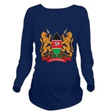 Kenya Coat of Arms Long Sleeve Maternity T-Shirt