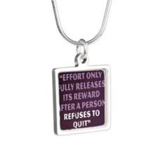 Napoleon Hill Motivational Silver Square Necklace
