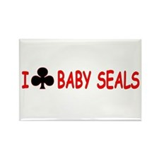 """I Club Baby Seals"" Rectangle Magnet"