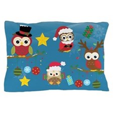 Christmas Owls Pillow Case