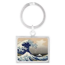 great_wave_5x3rect_sticker Landscape Keychain
