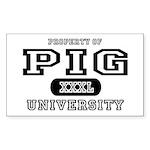 Pig University Rectangle Sticker