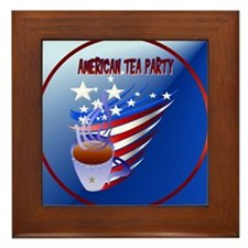 American Tea Party-Circle Framed Tile